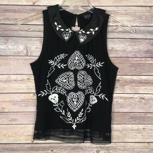 NWT!! Topshop Embroidered Top